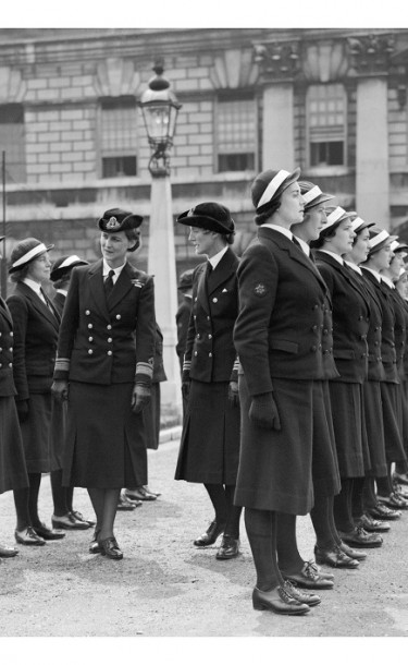 Archival photograph showing RH The Duchess of Kent inspecting Cadets of the WRNS Officers' Training Course in 1941